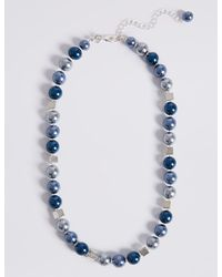 Marks & Spencer | Blue Square Mix Ball Necklace | Lyst