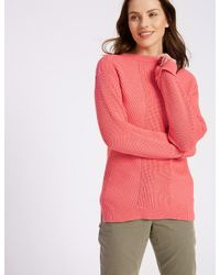 Marks & Spencer - Pink Pure Cotton Cable Knit Slash Neck Jumper - Lyst
