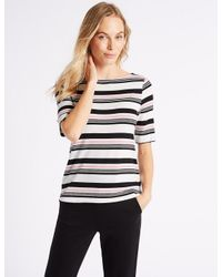 Marks & Spencer - Pink Striped Slash Neck Half Sleeve T-shirt - Lyst