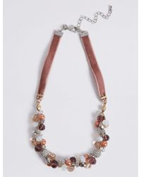 Marks & Spencer - Pink Beaded Twist Necklace - Lyst
