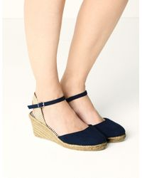 Marks & Spencer Blue Wide Fit Wedge Heel Espadrilles Navy