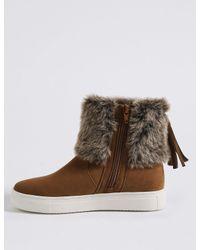 Marks & Spencer - Brown Side Zip Tassel Fur Ankle Boots - Lyst