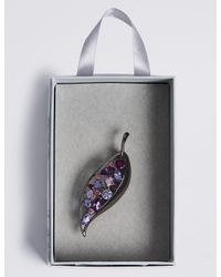 Marks & Spencer - Purple Assorted Stone Leaf Brooch - Lyst