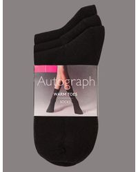 Marks & Spencer - Black 3 Pair Pack Warm Toes Ankle High Socks - Lyst