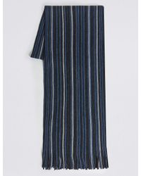 Marks & Spencer | Blue Striped Raschel Scarf for Men | Lyst