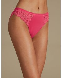 706a715b4 Marks   Spencer. Women s Pink Cotton Blend Vintage Lace High Leg Knickers