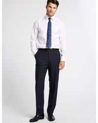 Marks & Spencer - Blue Big & Tall Navy Regular Fit Wool Trousers for Men - Lyst