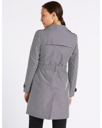 Marks & Spencer - Blue Printed Trench Coat With Stormweartm - Lyst