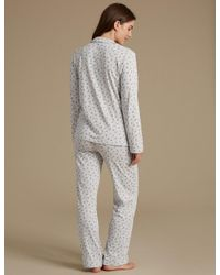 Marks & Spencer - Gray Feather Print Pyjamas With Cool Comforttm Technology - Lyst