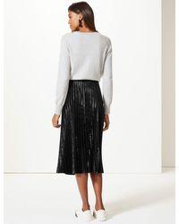 3258bf5773 Marks & Spencer Velvet Pleated Midi Skirt in Black - Lyst