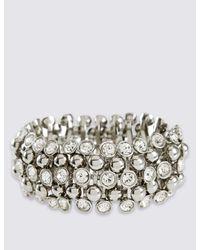 Marks & Spencer - Metallic Diamanté Sparkle Gem Stretch Bracelet - Lyst