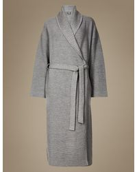Marks Spencer Textured Ribbed Waffle Dressing Gown In Gray Lyst