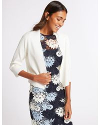 Marks & Spencer - White Open Front Cardigan - Lyst
