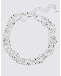 Marks & Spencer | Metallic Silver Plated Textured Link Bracelet | Lyst