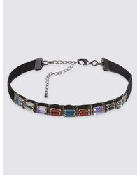 Marks & Spencer | Metallic Baguette Gem Choker Necklace | Lyst