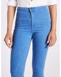 Marks & Spencer - Blue High Waist Super Skinny Jeans - Lyst