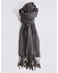 Marks & Spencer - Gray Sequin Striped Scarf - Lyst