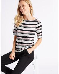 Marks & Spencer - Pink Striped Slash Neck Half Sleeve T-shirt - Lyst