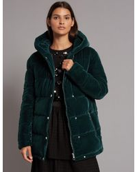 Marks & Spencer - Green Velvet Padded Jacket - Lyst