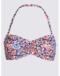86768e2aa9 Marks   Spencer Ditsy Floral Print Bandeau Bikini Top in Blue - Lyst
