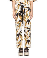 Marni | White Pants In Cotton And Linen Swash Print | Lyst