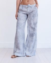 Marrakech | Natural Torres Wide Leg Linen Trouser | Lyst