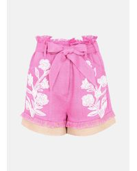 Mary Katrantzou   Pink Andy Embroidered Shorts   Lyst