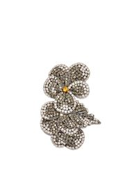 Rochas - Metallic Crystal-embellished Flower Brooch - Lyst