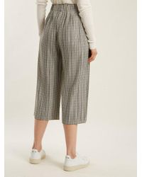 Pleats Please Issey Miyake - Black Gingham Pleated Cropped Trousers - Lyst