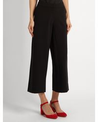 Saloni - Black Caroline Wide-leg Stretch-crepe Cropped Trousers - Lyst