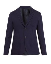 Giorgio Armani - Blue Single-breasted Geometric-pattern Blazer for Men - Lyst