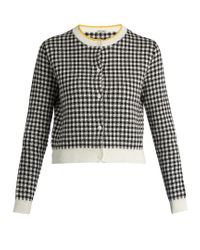 Miu Miu - Black Button-down Gingham-intarsia Cotton Cardigan - Lyst