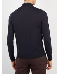 Paul Smith - Blue Long-sleeved Wool Polo Shirt for Men - Lyst