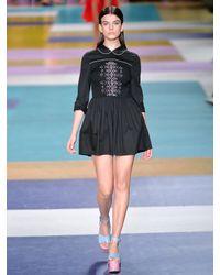 Miu Miu - Black Smocked-front Cotton Mini Dress - Lyst
