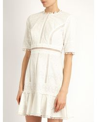 Zimmermann | White Caravan Ruffled-hem Embroidered Cotton Dress | Lyst