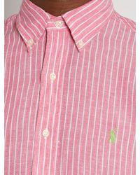 Polo Ralph Lauren - Pink Logo-embroidered Striped Linen Shirt for Men - Lyst