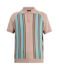 Prada - Multicolor Point-collar Striped-knit Wool Polo Shirt for Men - Lyst