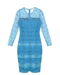 Burberry Prorsum | Blue Long-sleeved Tiered-lace Dress | Lyst
