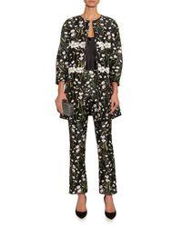 Giambattista Valli - Black Floral-jacquard Kick-flare Trousers - Lyst