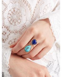 Jacquie Aiche - Pink Diamond, Lapis, Turquoise & Rose-gold Ring - Lyst
