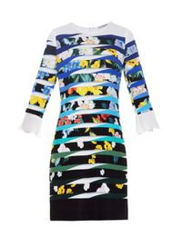 Mary Katrantzou - Blue Amellus Techno Flowers Stripe-print Dress - Lyst