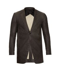 Rick Owens - Gray Stravinsky Coated-wool Blazer for Men - Lyst