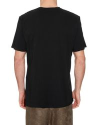 By Walid - Black Embroidered Cotton T-shirt for Men - Lyst