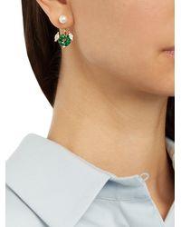 Delfina Delettrez - Green Diamond, Topaz, Pearl & Yellow-gold Earring - Lyst