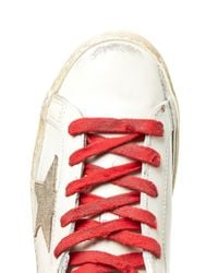Golden Goose Deluxe Brand - Red Super Star Low-top Leather Trainers - Lyst