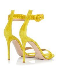 Gianvito Rossi - Yellow Antigua Contrast-stitch Suede Sandals - Lyst