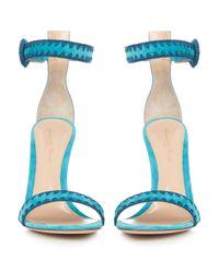 Gianvito Rossi - Blue Antigua Contrast-stitch Suede Sandals - Lyst