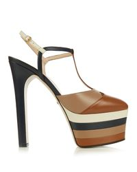 Gucci | Brown Angel Leather Striped Platform Sandals | Lyst