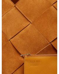 Loewe - Brown Woven-lattice Suede Tote - Lyst