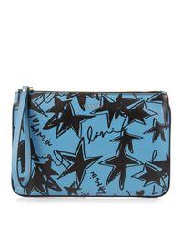 Lanvin Blue Star-print Leather Pouch